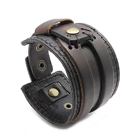 Genuine Leather Mens Bangle Cuff Bracelet
