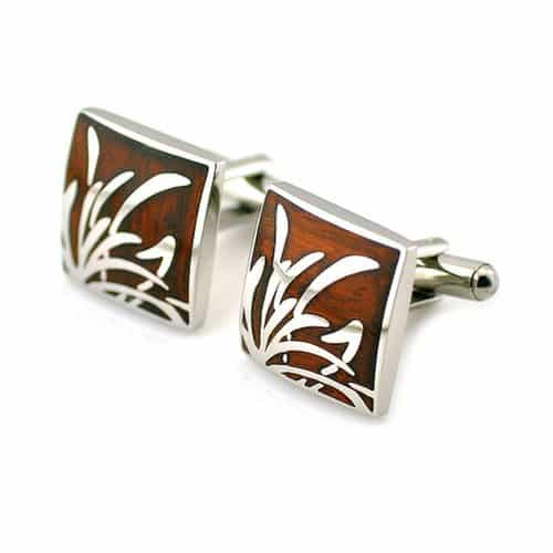PenSee Rare Stainless Steel & Red Wood Cufflinks
