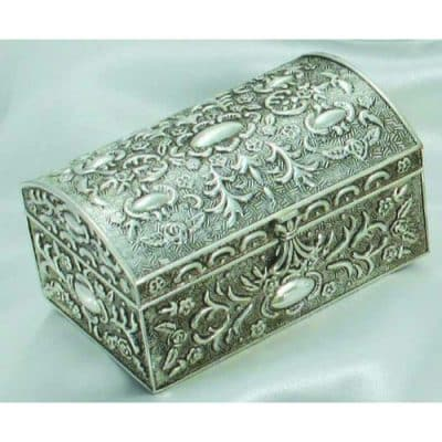 Antique Floral Silver Chest Box