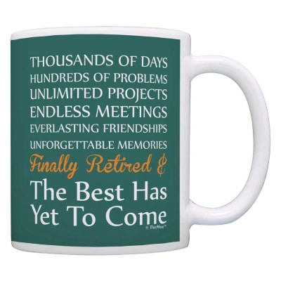Retired Poem Mug. Retirement Gifts For Coworkers. Retirement gifts for boss.