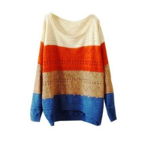Ninimour Color Blocks Knit Sweater