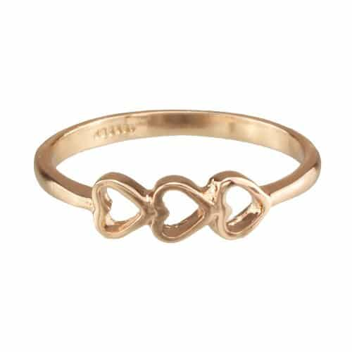 Gold Plated Triple Hearts Ring