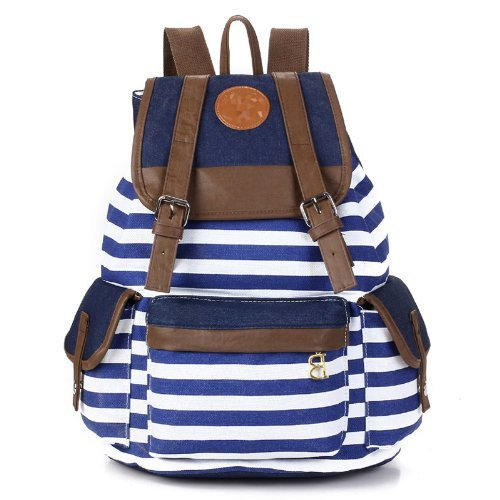 Unisex Stripe Canvas Backpack
