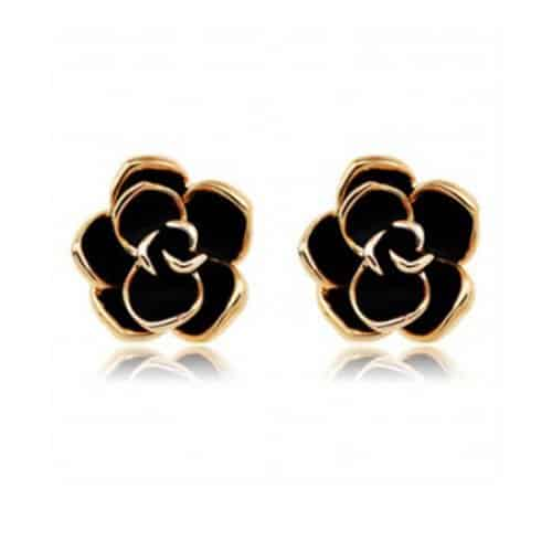 Black Rose Stud Earrings