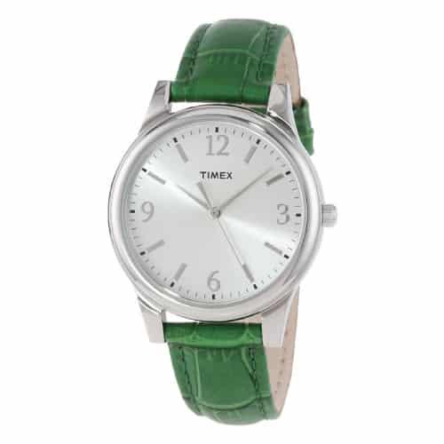 Timex Women's Dark Green Croco Patterned Leather Watch
