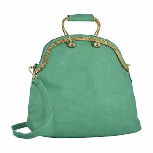 MG Collection Green Vintage Satchel Handbag