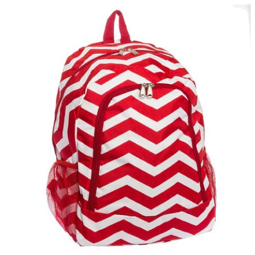 Red Chevron School Backpack