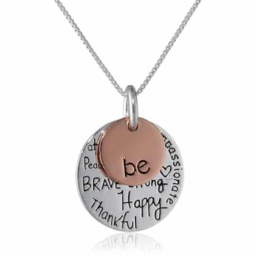 Silver, Rosegold Two-Tone Graffiti Charm Necklace
