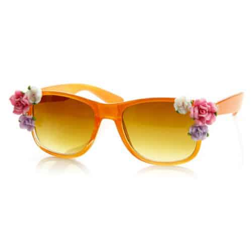 Flower Adorned Color Coated Wayfarer Sunglasses