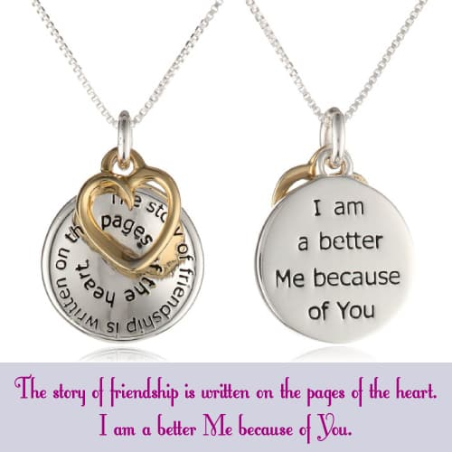 """""""The Story of Friendship"""" Disc and Heart Pendant Necklace"""