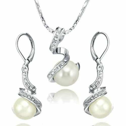 White Gold Pearl Earring and Necklace Set