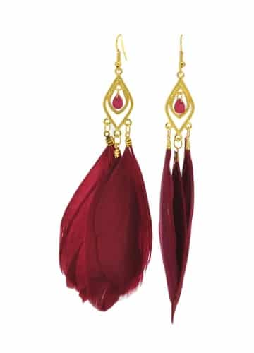 Wine Red Feather Earrings