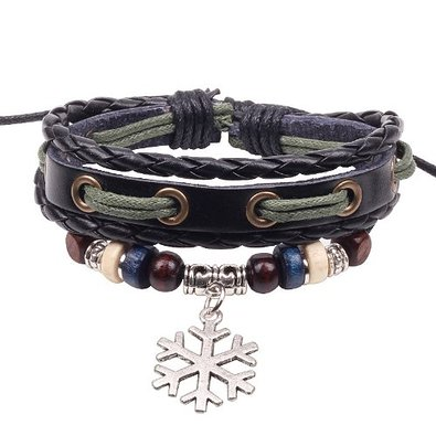 Snowflake Leather Bracelet