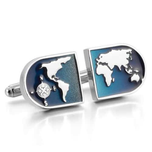 World Map Blue Cufflinks