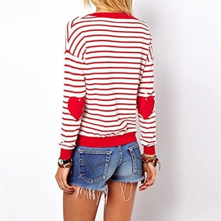 Red Stripes Heart Loose Pullover