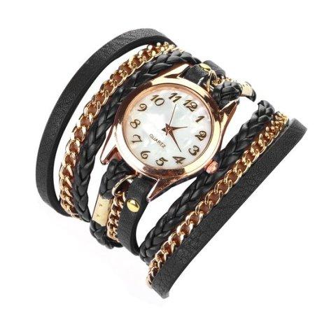 Wrap Around Leather Bracelet Wrist Watch