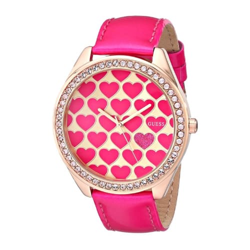 GUESS Women's Pink Heart Watch