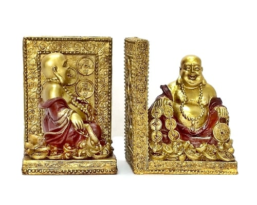 Laughing Buddha Statue Book Ends