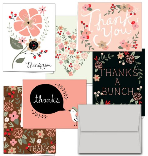 Set of 36 Floral Thank You Cards