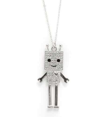 Crystals Embedded Robot Necklace