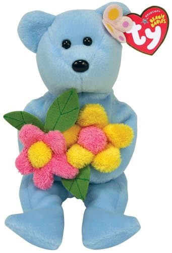 Ty Bluebonnet Blue Bear with Flowers