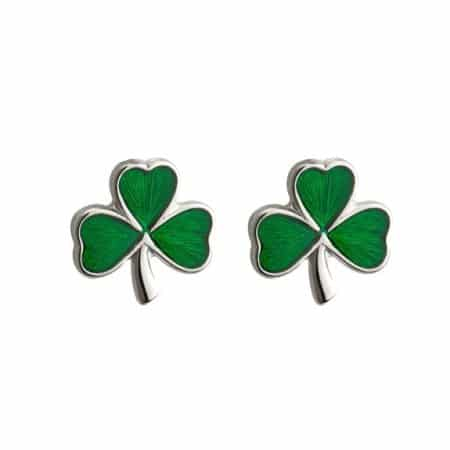Sterling Silver & Enamel Shamrock Earrings