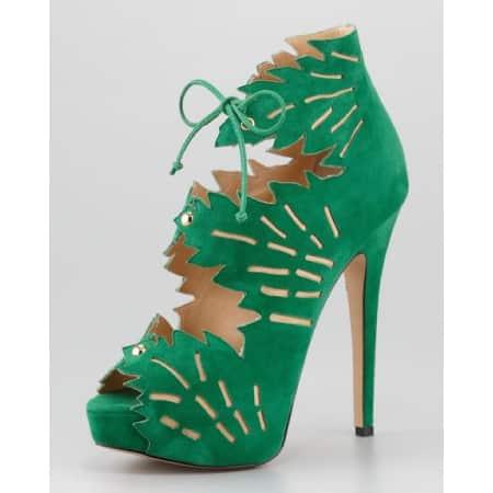 Open Toe Tree Leaf Heels by Onlymaker