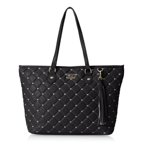 Betsey Johnson Quilted Heart Tote in Black