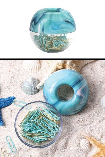 Marble Blue Paper Clips and Dispenser Set