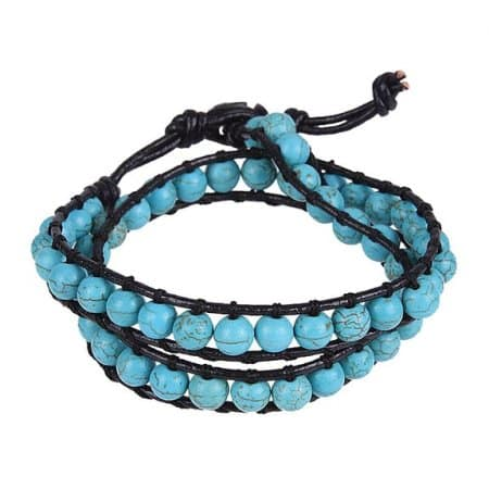 Turquoise Beads Leather Bracelet
