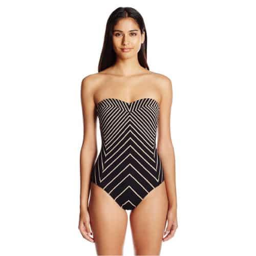 Calvin Klein Stripe Princess Panel Bandeau One Piece Swimsuit