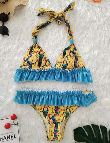 Yellow Ruffle Floral Beachwear