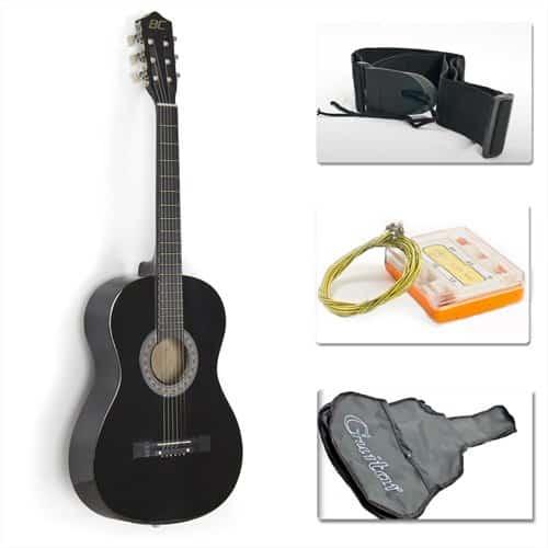 Black Acoustic Guitar Starter Package