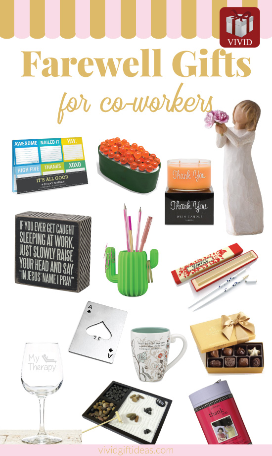 Farewell Gifts for Departing Coworkers - goodbye gift ideas for female and male colleagues