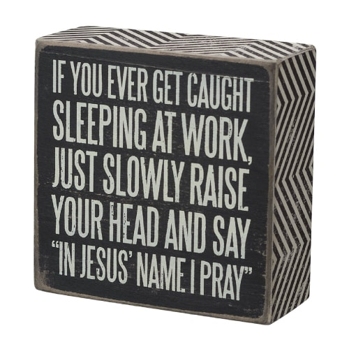 Caught Sleeping Box Sign - farewell gift ideas for coworker