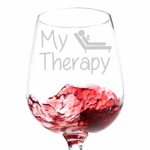 """My Therapy"" Funny Wine Glass - farewell gift ideas for coworkers"