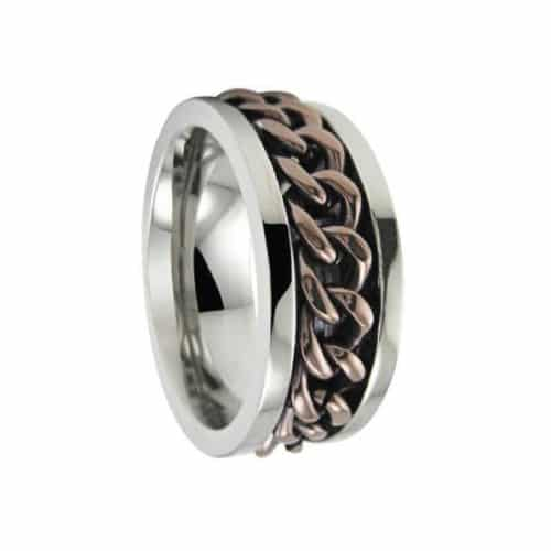 Titanium Spinner Ring with Bronze Center Chain