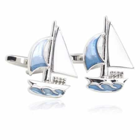 Platinum Sailing Boat Cufflinks
