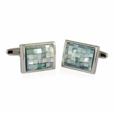 Cuff-Daddy Gray Green Mother of Pearl Cufflinks