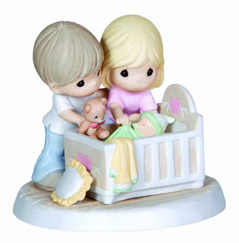 Precious Moments Parents with Baby in Crib Figurine