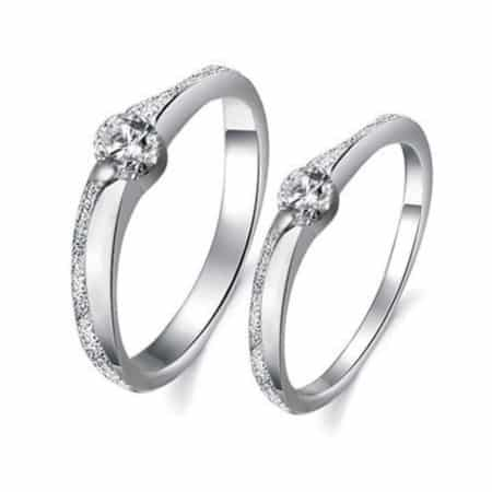 His & Hers Platinum Plated Couple Ring
