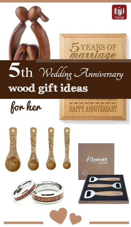 5th wedding anniversary gift ideas. Traditional wood anniversary gifts.