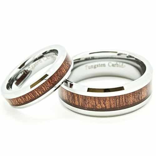 Wood Grain Couple Ring Set. Wood Anniversary Gift Ideas