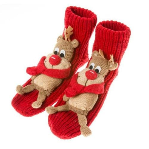 Rudolph Knit Slipper Socks