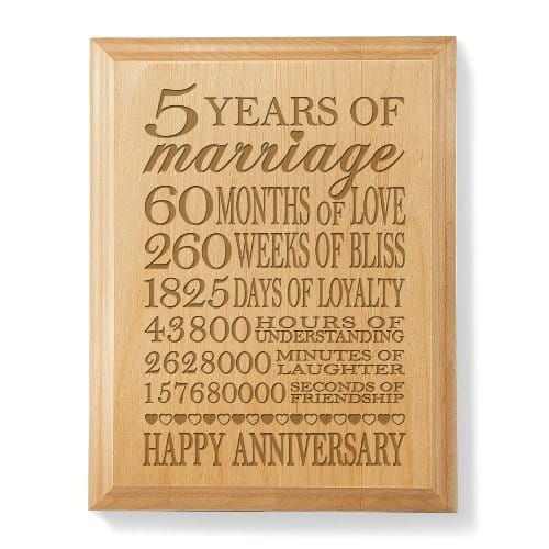 Our 5th Anniversary Wooden Plaque by Kate Posh - Wood Anniversary Gift Ideas