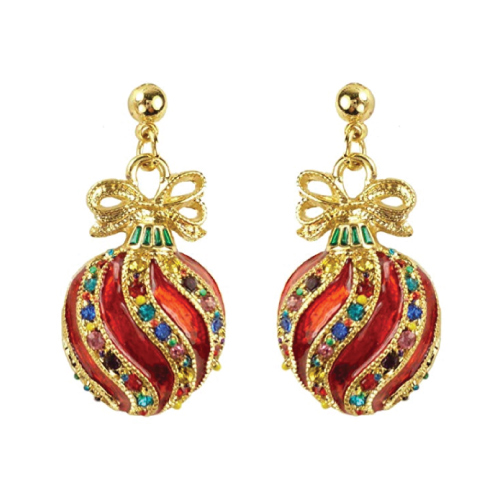 Bejeweled Christmas Ornament Earrings