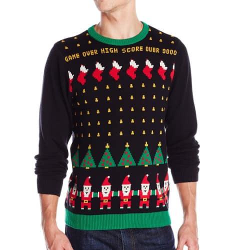 lex Stevens Men's Santa Invaders Ugly Christmas Sweater