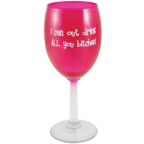 Funny Pink Wine Glass
