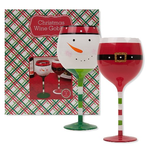 Santa and Snowman Wine Glass Set