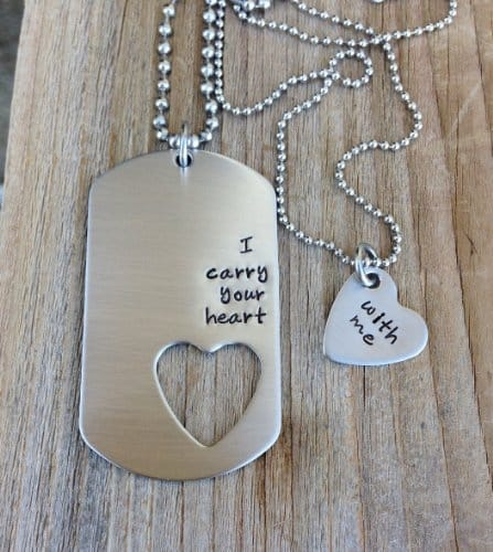 Heart Dog Tag Necklace Set